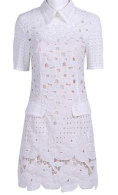 White Wing Collar Short Sleeve Hollow Dress