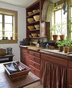 Farmhouse kitchen and yellow ware.
