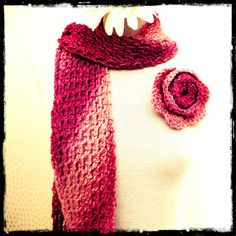 Rose Bias Scarf (Long) with matching Rose Brooch £12.00