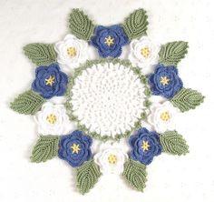 Pretty Delicate Crocheted White & Blue Rose Doily
