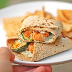 garlic shrimp and zucchini wraps