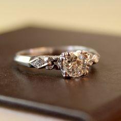 Linnea Diamond Vintage Engagement Ring circa 1950 by TurtleLoveCo, $1504.00