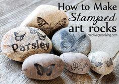 How to make stamped art rocks - fun garden art idea!