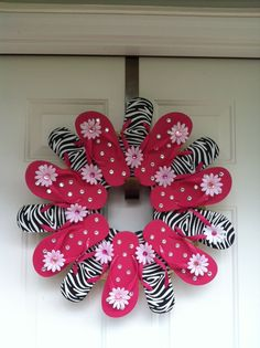 Zebra Print Flip Flop Wreath. $45.00, via Etsy.  Looks like an easy DIY