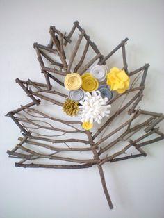 Yellow and Gray Twig Leaf Wreath, Fall Home Decor, Felt Flower Grapevine Leaf