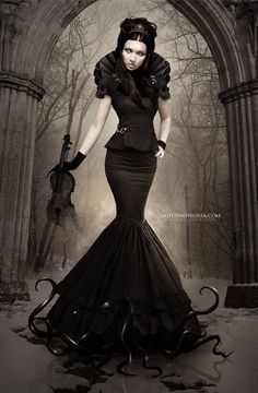 skirt, silhouett, goth style, photo manipulation, digital art, gown, couture dresses, black, gothic fashion