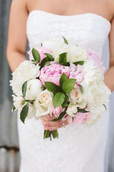 pink and white peony bouquet http://www.weddingchicks.com/2013/10/21/industrial-wedding-2/
