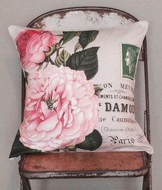 Pillow Cover Pink Rose Botanical Cotton and Burlap