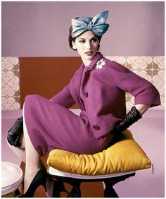 Model wearing a dress suit by Emme, 1961. Photo by Horst P. Horst models, hats, vintag fashion, color, dresses, suits, bows, dress suit, vintage style