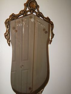 Sale Antique Vtg Victorian Etched Wall Mirror Gilt Wood Frame Shell Rose Buttons | eBay