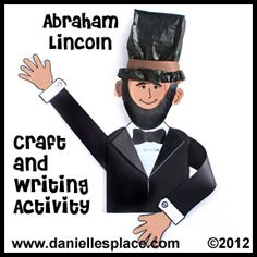 Abraham Lincoln Paper Bag and Paper Plate Craft Writing Activity for President's Day