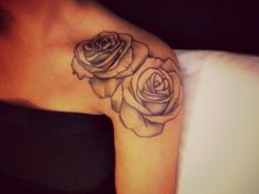 tattoo placements, tattoo ideas, arm tattoos, white roses, rose tattoos, a tattoo, flower tattoos, shoulder tattoos, black roses