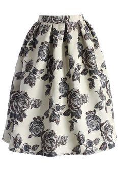 Superb floral black and ivory skirt.