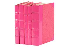 Patent leather books for a pink office. (Also a great DIY idea!)