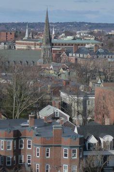 Harvard Sky View: Old Cambridge Baptist Church (Jose Mateo) & Widener Library, Cambridge, MA. DiscoverHarvard.com.