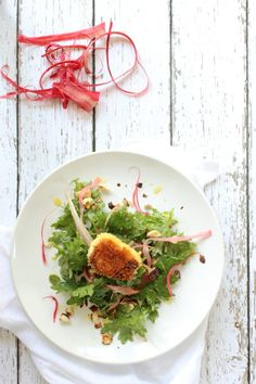 Baby Kale Salad with Rhubarb and Pan Fried Goat Cheese | Foodness Gracious