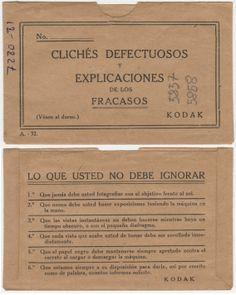 Sobre de negativos plásticos de Kodak con explicación para evitar los fracasos al fotografíar. Fondo Gómez-Moreno/Orueta. http://aleph.csic.es/F?func=find-c&local_base=archivos&adjacent=N&ccl_term=SYS%3D67893