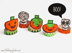 toilet roll skull and pumpkin Halloween crafts