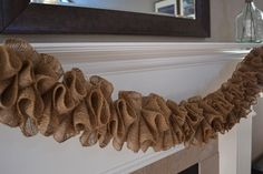 DIY burlap garland swag... I would add a stein of lights to it! Doing this tomorrow!!!