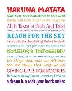 disney movies, walt disney, disney quotes, hakuna matata, subway art, disney sayings, playroom, inspirational quotes, movie quotes