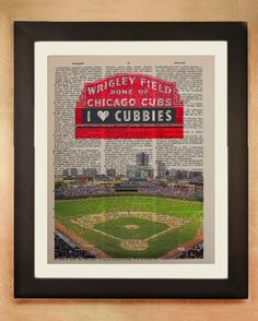 Chicago Cubs Art Dictionary Art Print, Wrigley Field Cubbies Baseball Vintage Paper Upcycled Book Wall Art Home Decor da75 on Etsy, $8.99