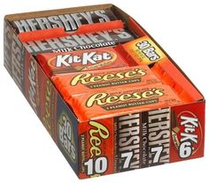 Hershey's 4-Flavor Variety Pack (Kit Kat, Reese's Peanut Butter Cups, Hershey's Milk Chocolate & Chocolate with Almonds), 30-Count Bars by Hershey's, http://www.amazon.com/dp/B000WL39JQ/ref=cm_sw_r_pi_dp_4GJDpb1WTXFFT