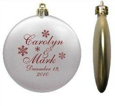 Inexpensive Custom Wedding Favor Ornaments Flat Shatterproof