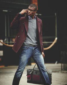 On the go style Men Peacoat, Men Styles, Travel Tips For Men, Men Fashion, Men'S Clothing, Blazers, Style Travel, Menswear Fashion, Burgundy