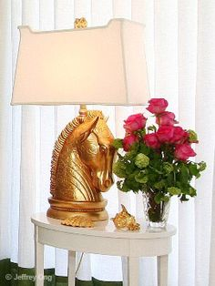 gold lamp w white shade