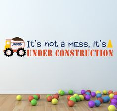 """Dump Truck Vinyl Wall Decal, Personalized with Name Under Construction Kids Wall Decal, Boys Baby Nursery, Boys Bedroom,6 3/4""""H x 36""""W - A12. $41.00, via Etsy."""