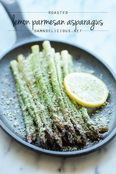 Lemon Parmesan Asparagus - A quick and easy side dish with fresh lemon juice, garlic and Parmesan goodness, made with just 5 min prep! @damndelicious
