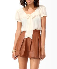 Ribbon Tie-Neck Top | FOREVER21 - 2005758268