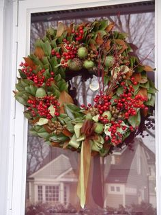 Magnolia Leaf Wreath with berries