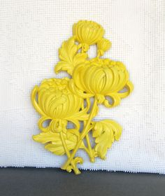 Sunny Yellow Large Wall Flower Upcycled Vintage by BeautiSHE, $15.00
