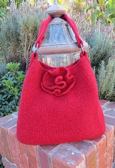 Red Rose Felted Tote