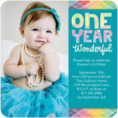 One Year Wonderful - Birthday Party Invitations - Hallmark - Aqua - Blue : Front