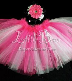 Pink and White Tutu with Feather Waist, Flower Hair Clip, and Headband Set by LittleBeanDiaperCake, $32.00
