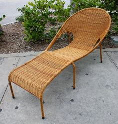 Vintage Mid Century Modern Rattan Woven Iron Patio Lounge Chair...just needs a great graphic cushion.