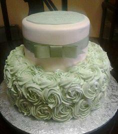 Sage Green Rose wedding Cake