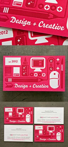 Duct Tape & Glitter's Colorful Business Card #business #card #businesscard #business_card #red