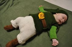 """Yeah, that's right!  A tiny knitted ""Link"" (""Legend of Zelda"") outfit for an infant."""