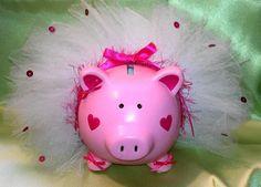 Every girl needs a piggy bank in a tutu. - Ballerina Piggy Bank Custom Made by KayleisAngels via Etsy.