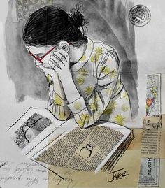 "Saatchi Online Artist Loui Jover; Drawing, ""the reader"" #art"