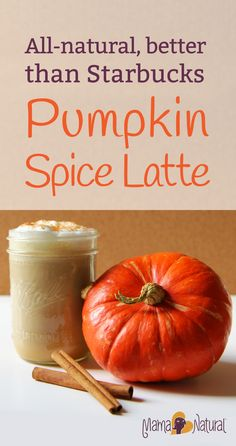 Pumpkin Spice latte recipe, a natural Starbucks copycat that's WAY healthier and way less expensive too. From MamaNatural.com. #Pumpkin #PumpkinSpice