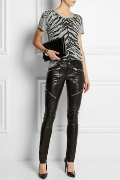 Saint Laurent | Leather skinny pants | NET-A-PORTER.COM