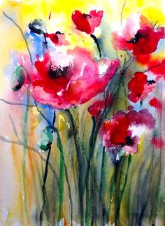 "Saatchi Online Artist: Karin Johannesson; Watercolor, 2013, Painting ""Poppies II"""