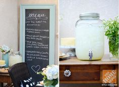 Outdoor Decorating Ideas: An oversized frame chalkboard for the menu and a lemonade jar for the drinks!