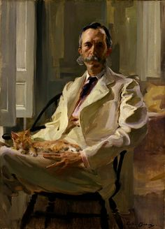 Man with the Cat (Henry Sturgis Drinker), 1898, Cecilia Beaux, oil on canvas, 48 x 34 5/8 in. (121.9 x 87.8 cm.), Smithsonian American Art Museum, Bequest of Henry Ward Ranger through the National Academy of Design, 1952.10.1