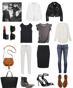 Basics and outfits: black, white, grey, blue, blazer, leather jacket, t-shirt, button-up shirt, skirt, skinny jeans, sandals, ankle boots, heels, red lips -- and for packing light