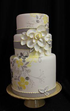 wedding cake yellow flowers, gray and yellow wedding cakes, yellow grey wedding cakee, color schemes, flower cakes, heel, yellow cakes, oakleaf cake